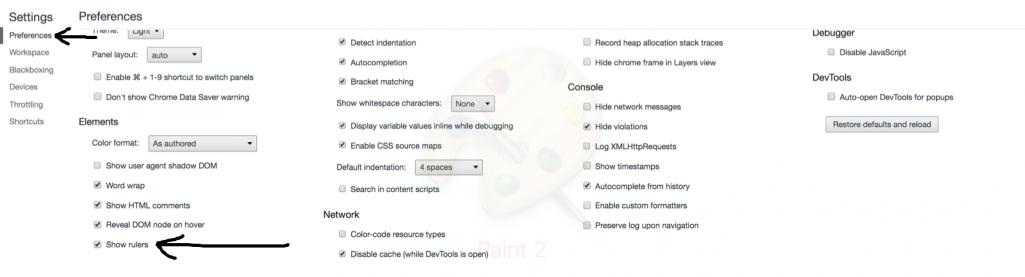 Aktiviere das Lineal von Chrome DevTools